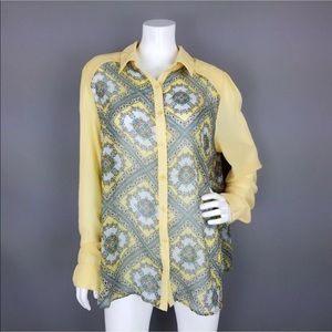 FOREVER 21 SHEER YELLOW PRINT BUTTON DOWN BLOUSE